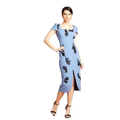 Vestido Midi Izadora Lima Brand Em Crepe Com Manguinhas Curtas Feminino-Feminino