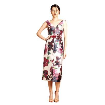 Vestido Midi Izadora Lima Brand Em Zibeline Com Mini Fenda Na Saia Feminino-Feminino