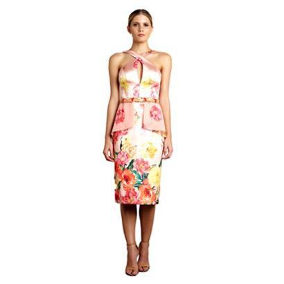 Vestido Midi Izadora Lima Brand Em Zibeline E Musseline Com Busto Cruzado Feminino-Feminino