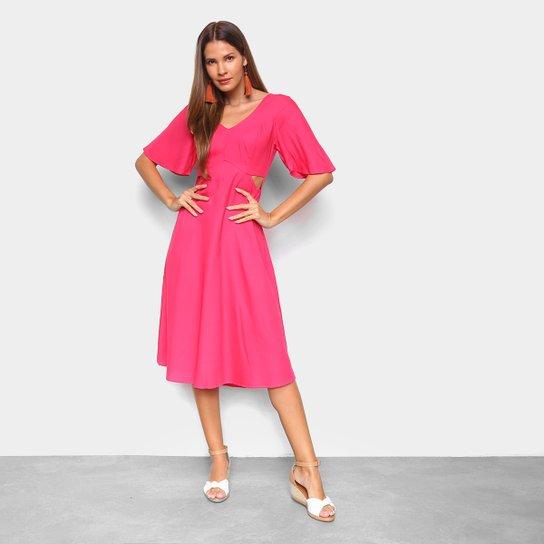 Vestido Midi Mercatto Amarração Feminino - Rosa Escuro