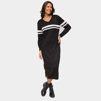 Vestido MIdi Mercatto Manga Longa Listras