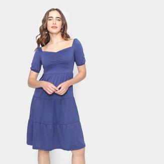 Vestido Midi Moda Loka Manga Curta