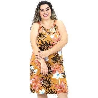 Vestido Midi Plus Size Florido Floral Alça Média Com Decote