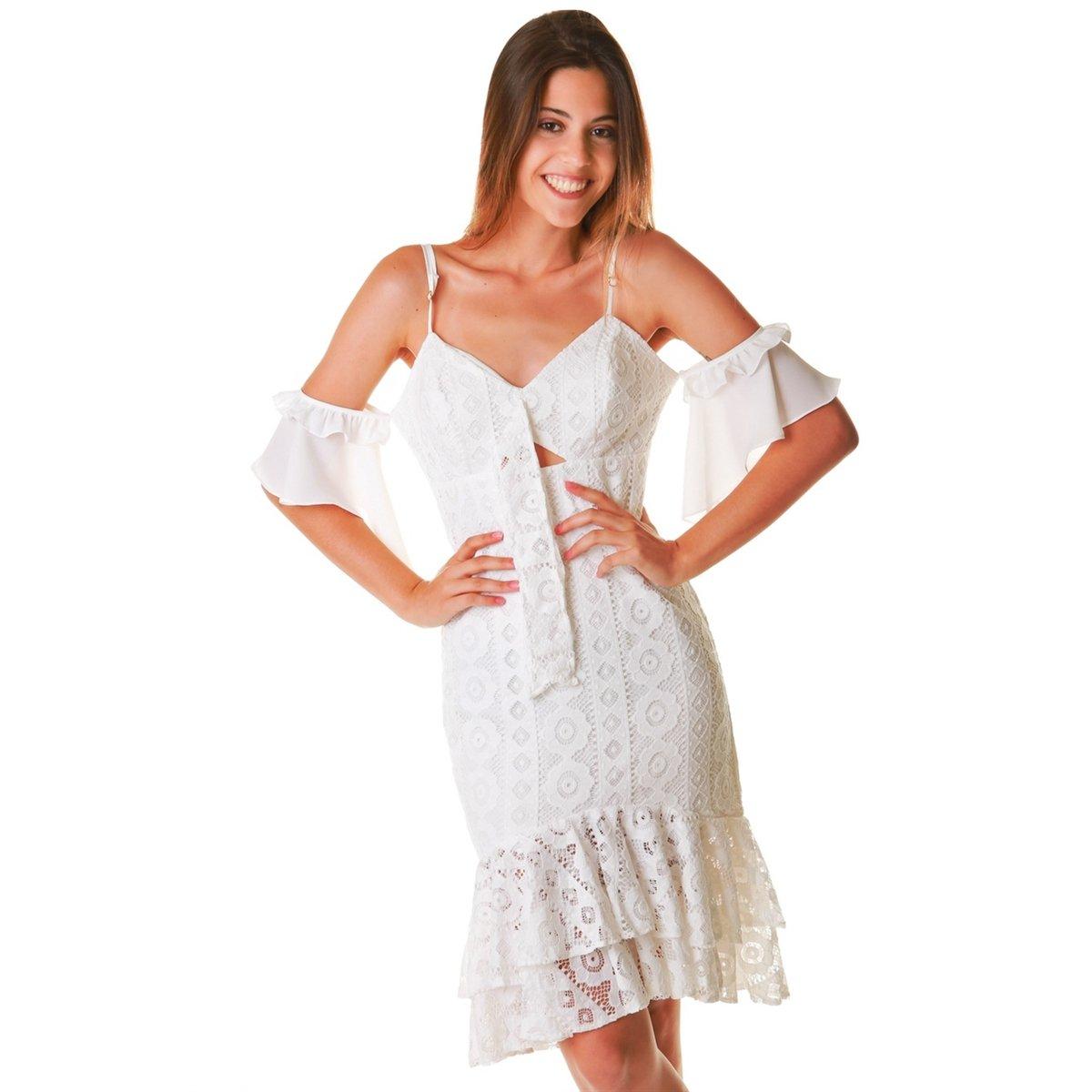 Vestido Midi Renda Branco P Zattini