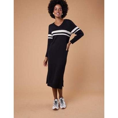 Vestido midi tricot listras Feminino