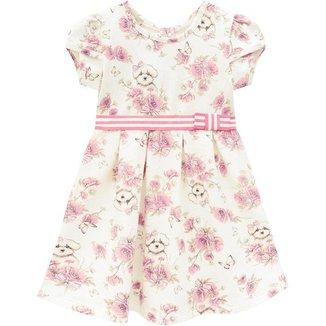Vestido Milon Bebe Feminino Estampa Cachorrinho E Flores