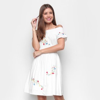 Vestido Miose Evasê Curto Ombro a Ombro Bordado Floral