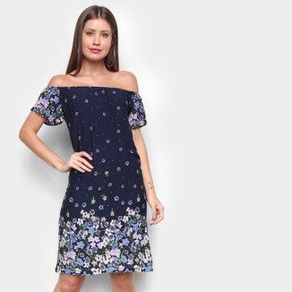 Vestido Miose Evasê Curto Ombro a Ombro Floral