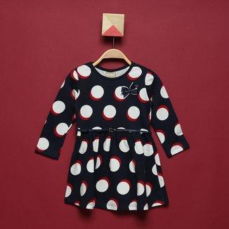 Vestido Moletinho Bebê Milon Poá c/ Laço Feminino
