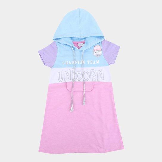 Vestido Moletinho Infantil Fakini Unicórnio Com Capuz Feminino - Azul
