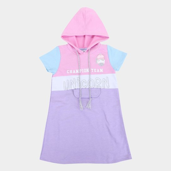 Vestido Moletinho Infantil Fakini Unicórnio Com Capuz Feminino - Rosa