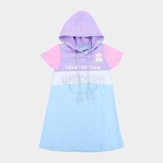 Vestido Moletinho Infantil Fakini Unicórnio Com Capuz Feminino
