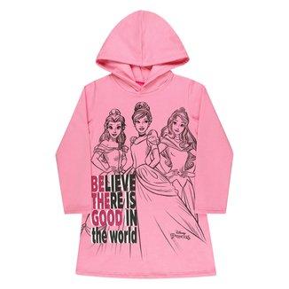 Vestido Moletom Infantil Disney Princesas C/ Capuz