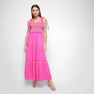 Vestido Morena Rosa Lastex Midi Decote Quadrado