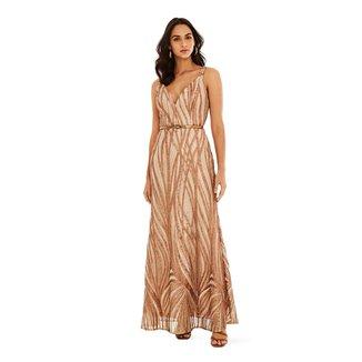Vestido Morena Rosa Longo Decote V Detalhe Paetê Feminino