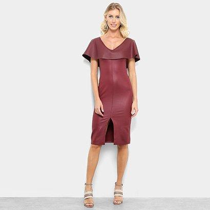 Vestido Morena Rosa Midi Decote V