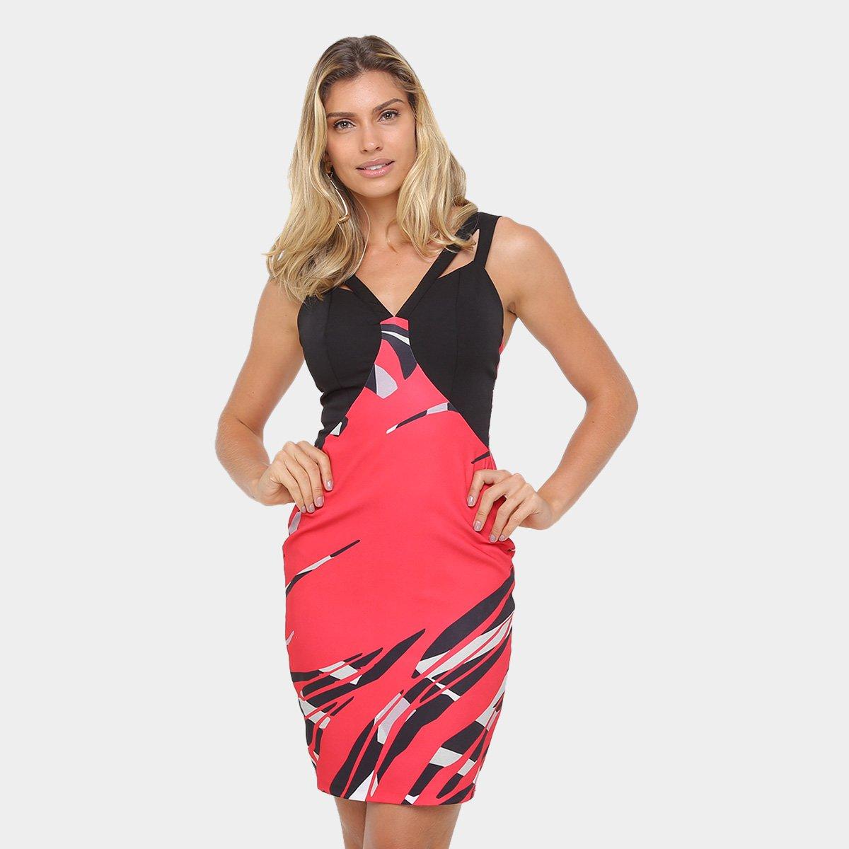 3e71c828b Vestido Morena Rosa Tubinho Midi Alça Estampado Recorte - Vermelho e Preto  | Zattini