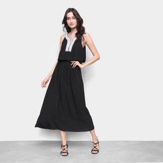 Vestido MS Fashion Longo Bordado