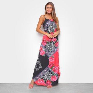 Vestido MS Fashion Longo Estampado Alças