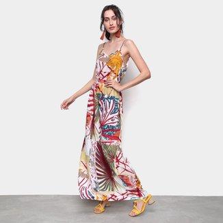 Vestido MS Fashion Longo Floral Alças