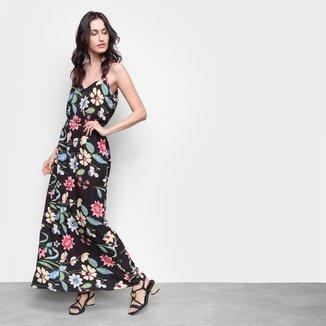 Vestido MS Fashion Longo Floral Amarração