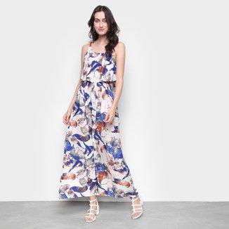 Vestido MS Fashion Longo Floral Babado