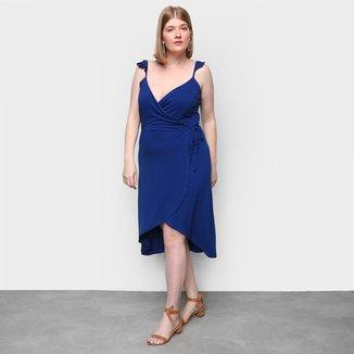 Vestido Naif Plus Size Curto Assimétrico