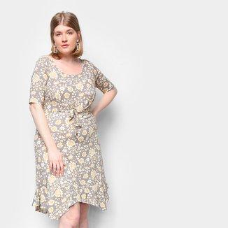 Vestido Naif Plus Size Curto Floral Amarração