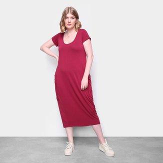 Vestido Naif Plus Size Midi Com Bolsos