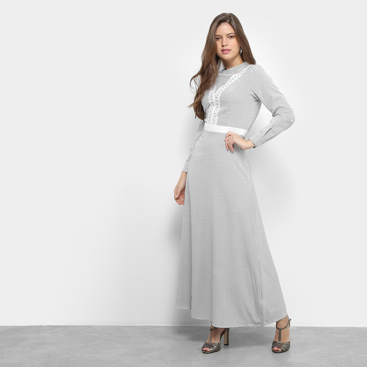 Vestido Only Fashion Longo Poá Renda Manga Longa Branco