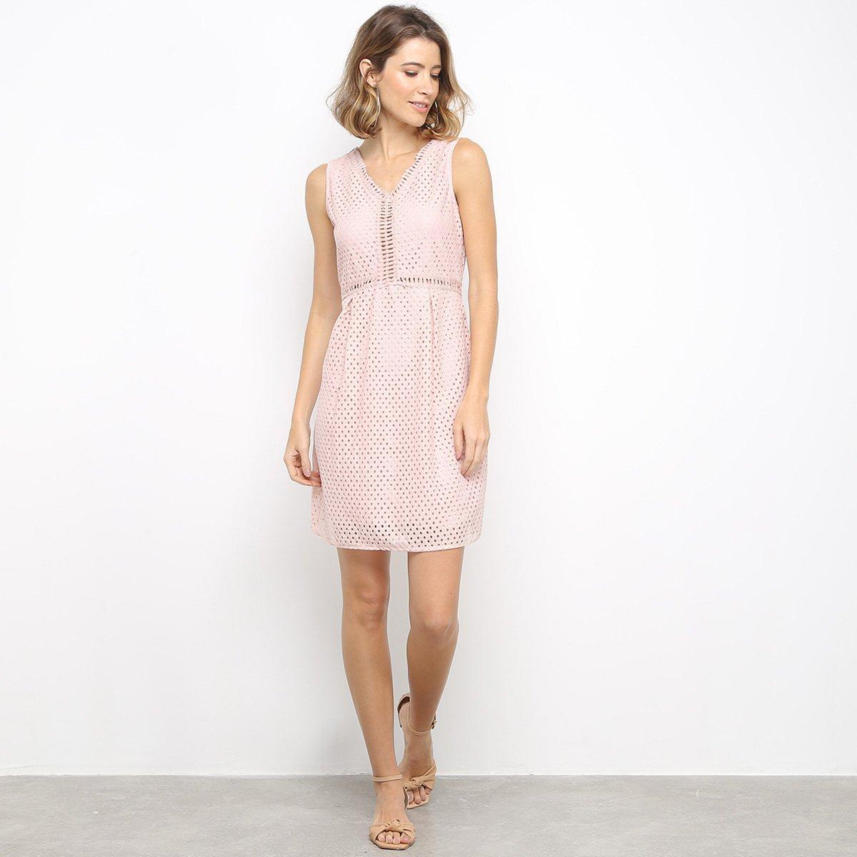 Vestido Pérola Curto Com Renda - Rosa
