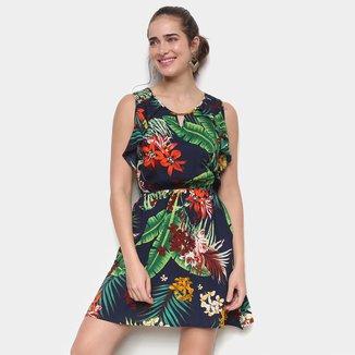 Vestido Pérola Evasê Curto Tropical Babados Laterais