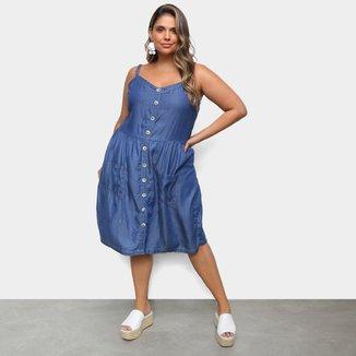 Vestido Plus Size Cambos Com Botão Feminino