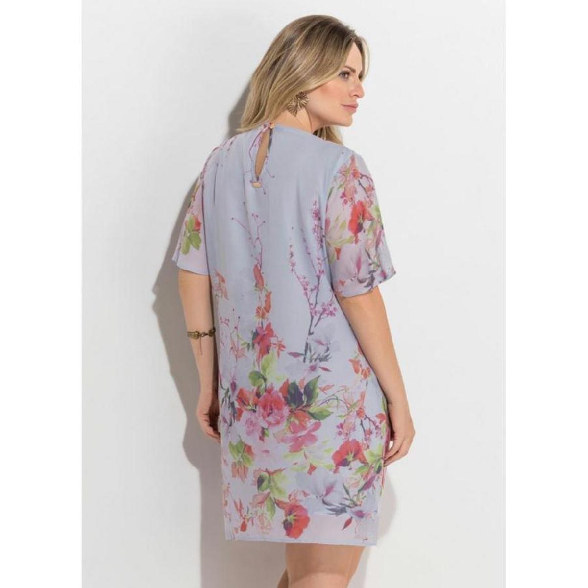 3c089589f Vestido Plus Size Chiffon Floral Forro Quintess - Compre Agora | Zattini
