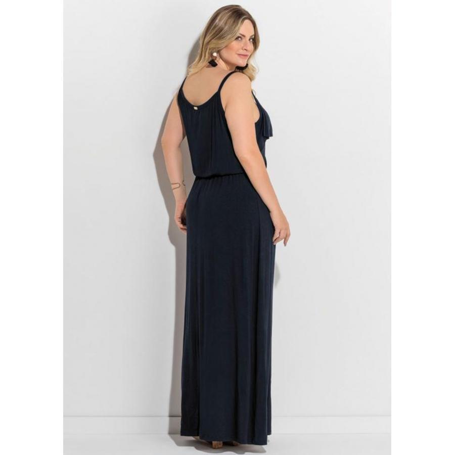 5f963777d Vestido Plus Size Longo de Alças Preto Quintess - Compre Agora