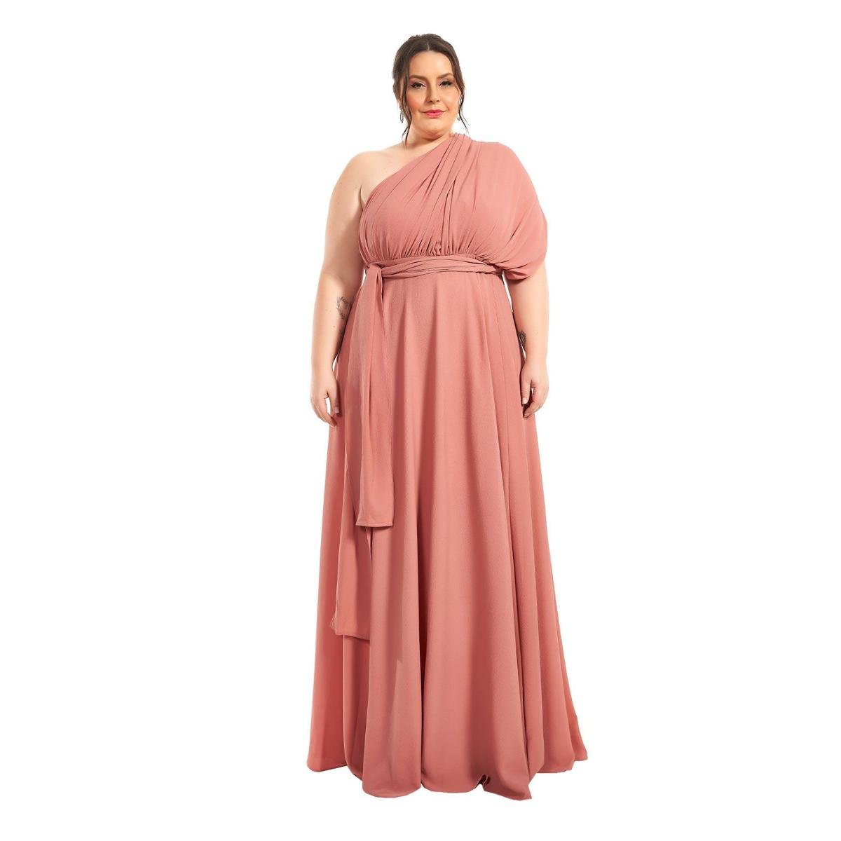 Vestido Plus Size Longo Infinity Lala Dubi Dress Rose Gold