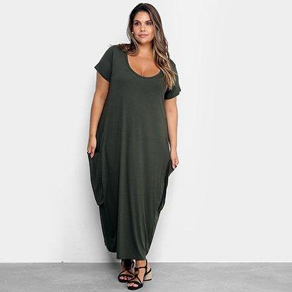 Vestido Plus Size Naif Longo Bolsos