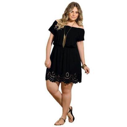 Vestido Plus Size Quintess Ciganinha Vazado Feminino