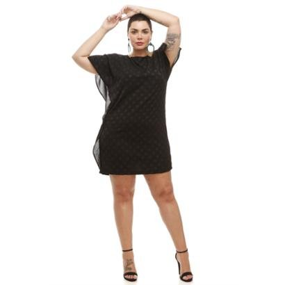 Vestido Preto Melinde Plus Size Preto Crepe Poá-Feminino