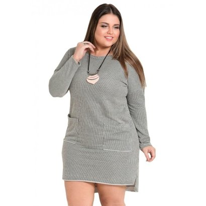 3068d43142 Vestido Quintess Plus Size Listrado Mullet