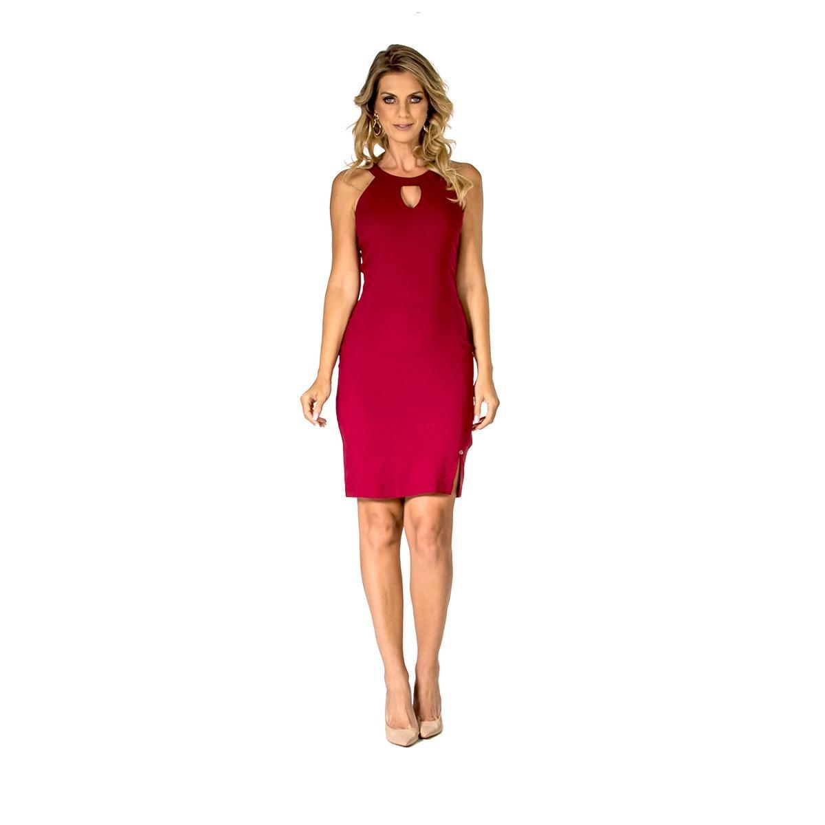 Vestido Realist Slim - Bordô gHFMXd2N
