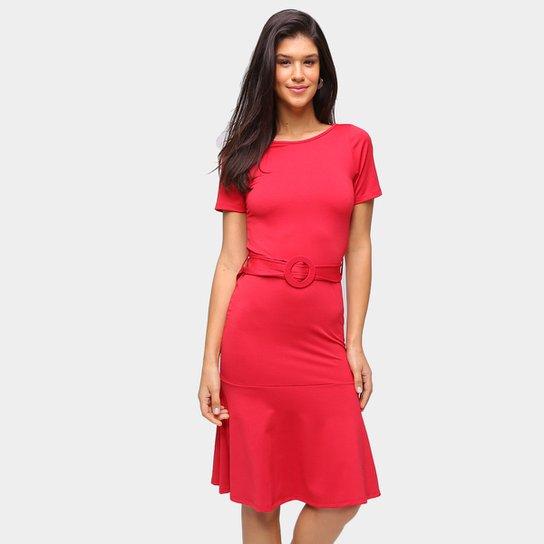 Vestido Recoletta Evasê Midi Babado - Vermelho