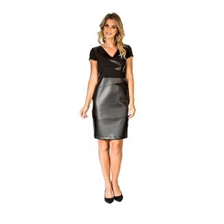 Vestido Recortes Couro Realist