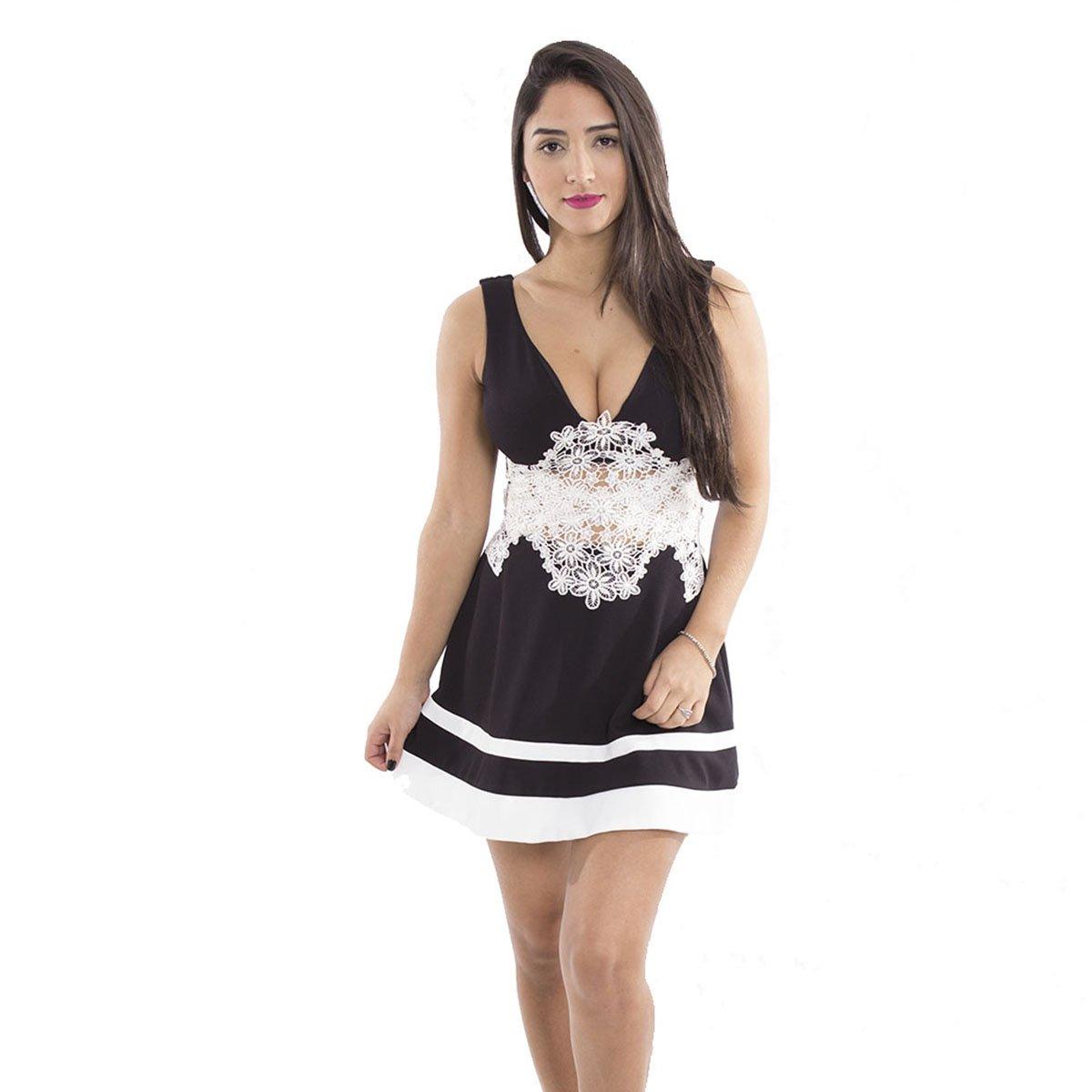 Vestido preto guipir branco
