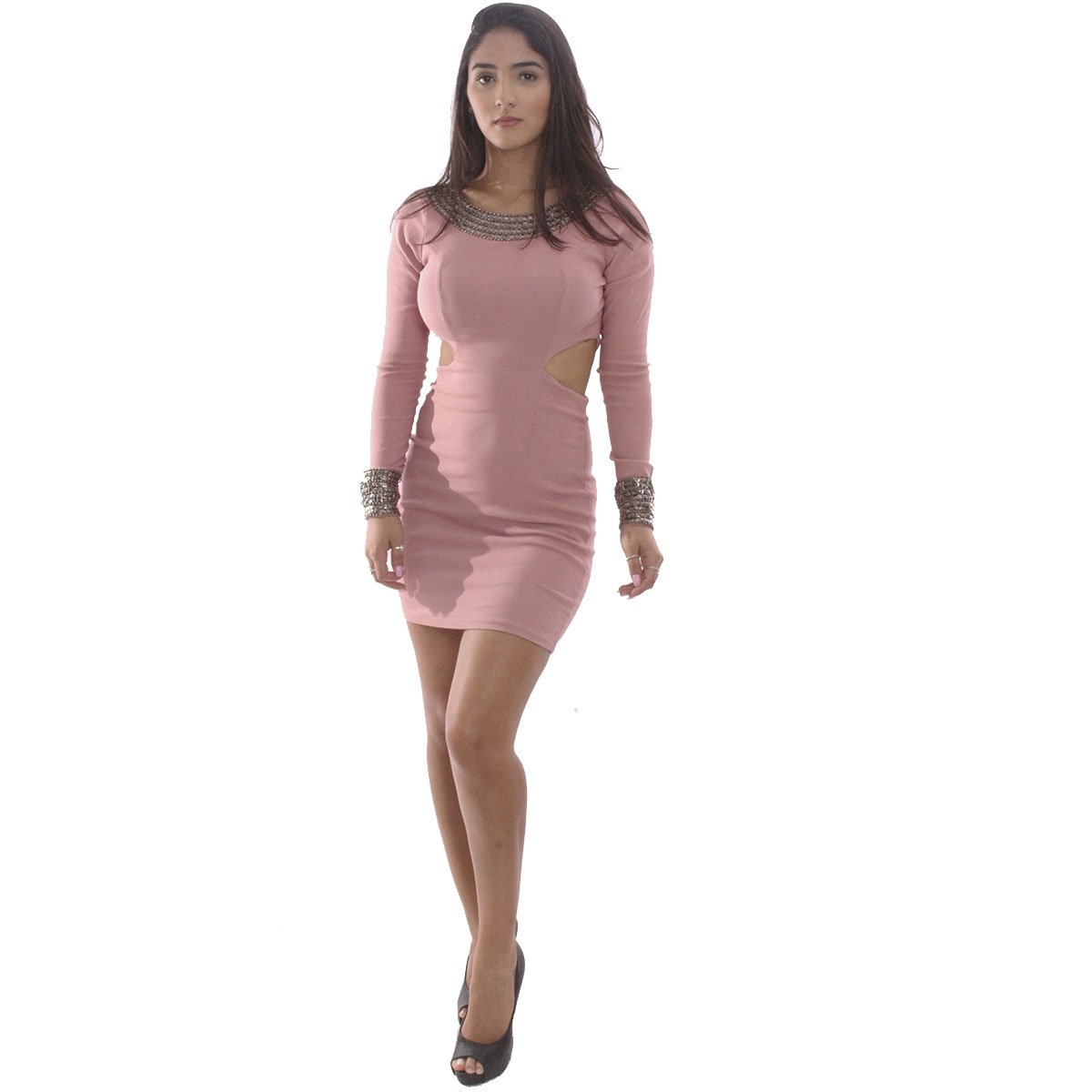 c788dd454 Vestido Rosa Fina Manga Longa Com Pedrarias | Zattini