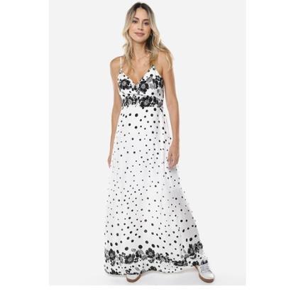 Vestido Sob Longo Estampado Feminino - Feminino-Branco