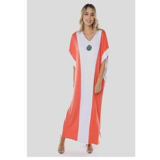 Vestido Sob Longo Viscose Bicolor Feminino