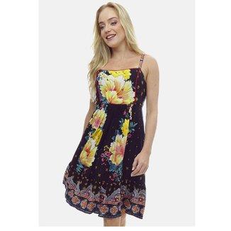 Vestido Sob Viscose Midi Barrado Floral Feminino