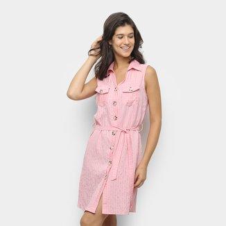 Vestido Sofia Fashion Chemise Curto Com Bolso Listrado