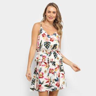 Vestido Sofia Fashion Evasê Curto Floral Babado